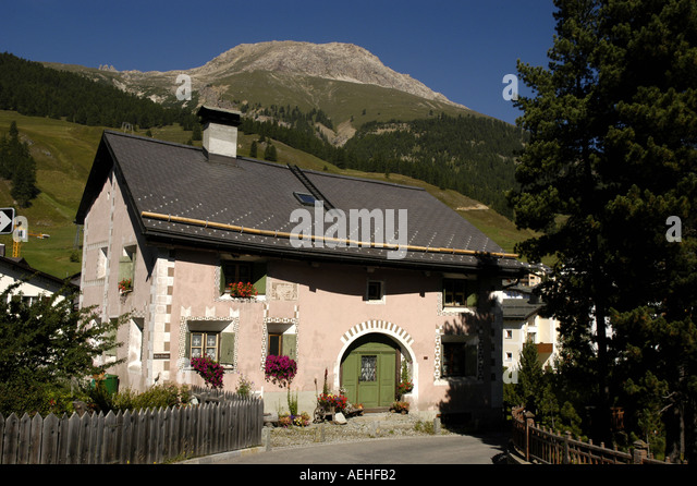 Switzerland St Moritz area Traditional House with Painted Designs - Stock Image