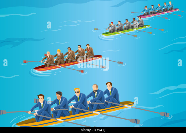 Conceptual image of businessman competing in rowboat race - Stock Image
