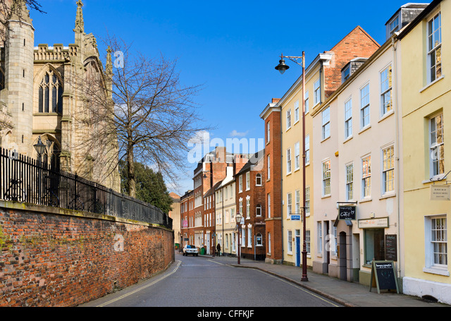Houses and offices on High Pavement in Lace Market district with church of St Mary's to left, Nottingham, England, - Stock Image
