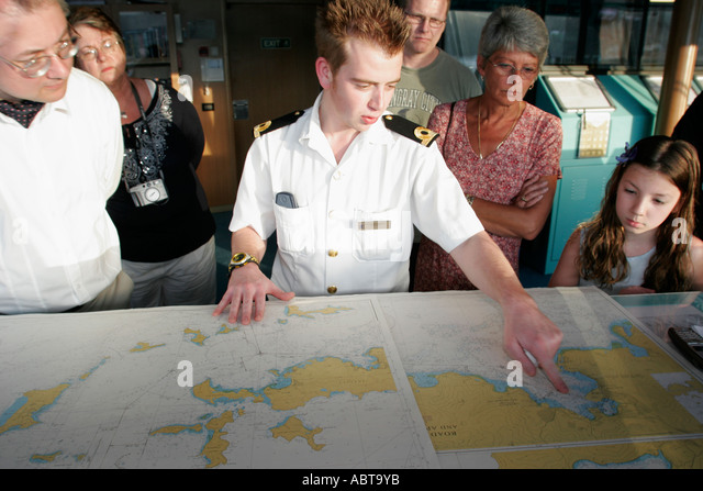 BVI Tortola Holland America Caribbean cruise from New York ms Noordam bridge map officer tour - Stock Image