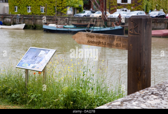 Sign at start of the Sailor's Way footpath, Snape Maltings, Suffolk, England - Stock Image