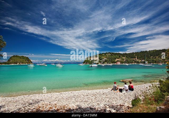 Charami beach, Lakka village and bay, Paxos ('Paxi') island, Kerkyra (Corfu) prefecture, Ionian Sea, Greece. - Stock Image