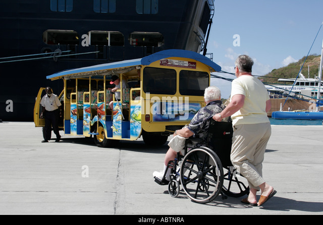 St. Thomas USVI Crown Bay Holland America Line ms Noordam tour bus wheelchair - Stock Image