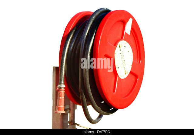 emergency red fire hose on a white background - Stock Image