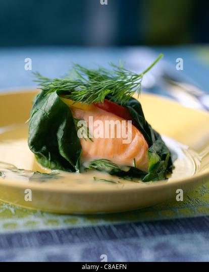 Salmon papillote - Stock Image