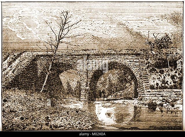 Lake Shore & Michigan Southern Railways USA  - Huron River Viaduct, Norwalk 1875 - Stock Image