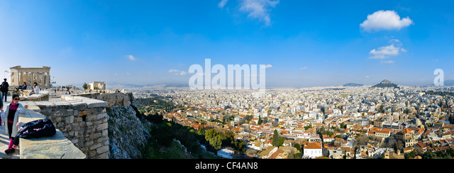 View of Athens from the Acropolis, Greece, Europe - Stock-Bilder