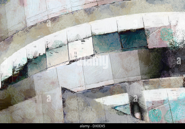 Abstract painting of modern architecture detail with grunge - Stock Image