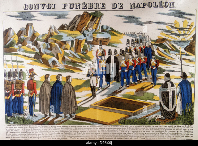 Burial of Napoleon I (Napoleon Bonaparte 1769-1821) on St Helena. From a 19th century French popular print. Colour - Stock Image