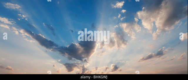 Heart shape cloud and sunset in india. Panoramic - Stock Image