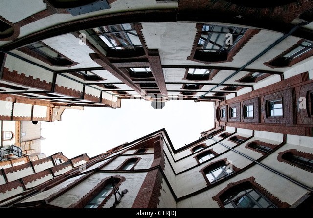 Architecture, courtyard, worm perspective, office building, Sandtorkai-yard, Hamburg, Germany, Europe - Stock Image