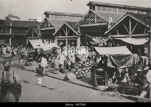 Market Place, Shanghai, China, circa 1910 - Stock Image