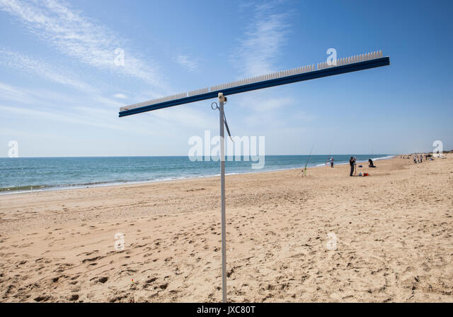 Bait hanger stand. It is used for change the bait quickly on angling competitions. Angling fishers at bottom - Stock Image