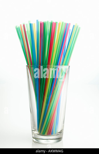 Multi coloured straws, close-up - Stock Image