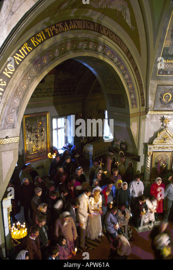 Moldova Eastern Europe Kishinev Orthodox church wedding ceremony - Stock Image