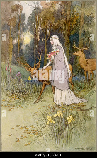 A woman walking through the  woods with a timid dun deer - Stock Image
