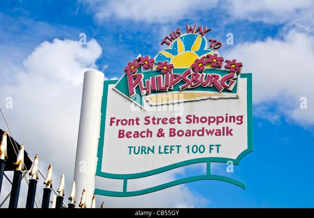 St Maarten, Philipsburg. front street shopping beach & boardwalk sign, - Stock Image
