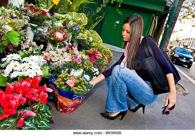 woman buys a plant from the florist - Stock-Bilder