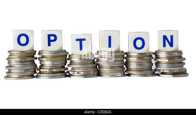 Stacks of coins with the word OPTION isolated on white background - Stock Image