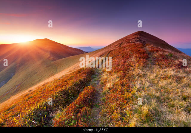 Beautiful colorful autumn landscape in the mountains. Sunrise - Stock Image