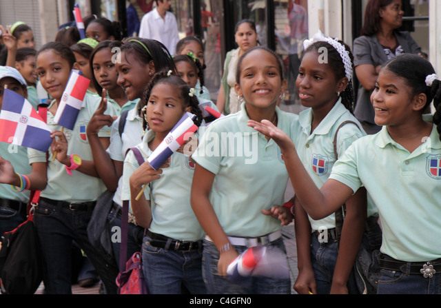 Santo Domingo Dominican Republic Ciudad Colonia Calle el Conde Peatonal Hispanic student boy girl school children - Stock Image
