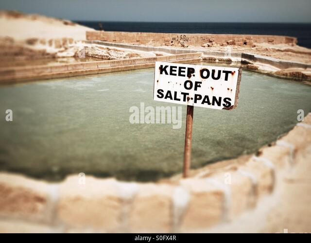Salt pans keep out, Gozo, Malta. - Stock Image
