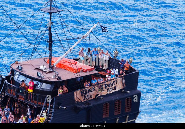 """Black Pearl"" pleasure ship from Ayia Napa at Cape Greco, Cyprus. - Stock Image"