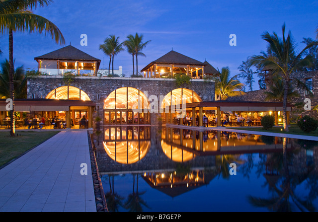 Resort Moevenpick at twilight south coast of Mauritius Africa - Stock Image