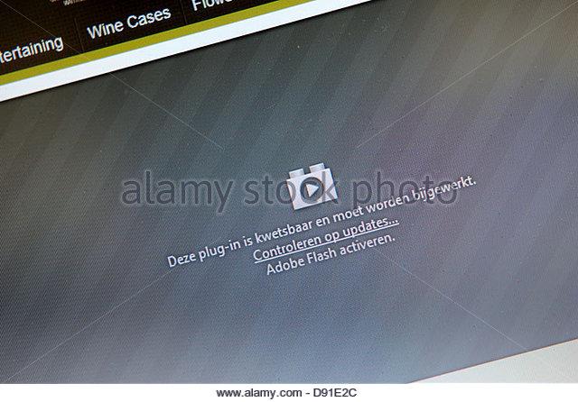 Adobe flash plugin crashed - Stock Image