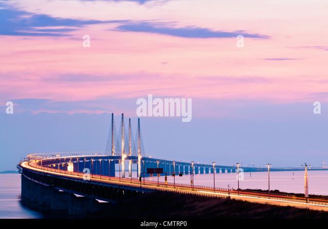 View of huge long bridge - Stock Image