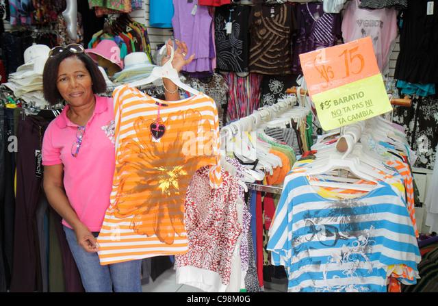 Curaçao Netherlands Antilles Dutch Willemstad Punda Sha Caprileskade shopping clothing store apparel women's - Stock Image