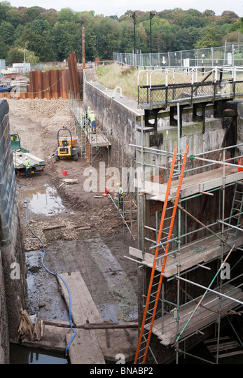 Vale Royal Locks, on the River Weaver, during repair work after a land slip. - Stock Image