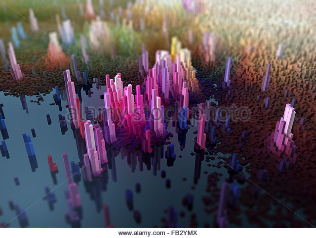 Abstract three dimensional city topography - Stock Image