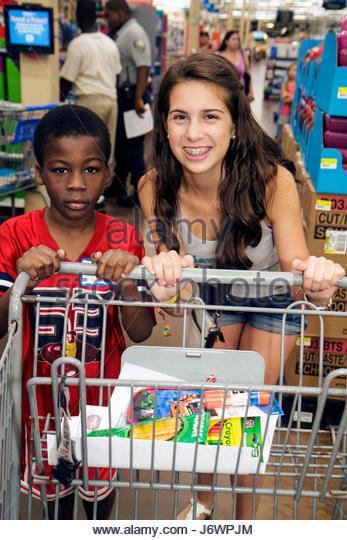 North Miami Beach Florida Wal-Mart Walmart Lions Club Back to School Shopping Spree shopping disadvantaged student - Stock Image