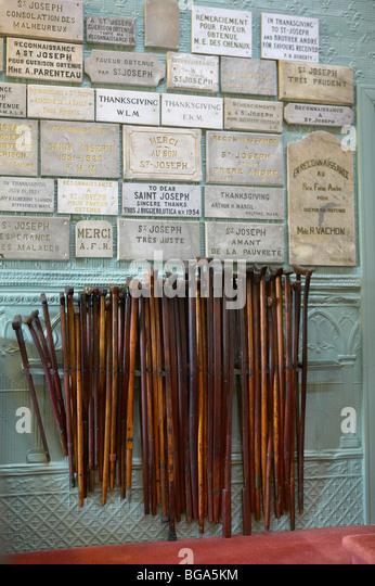 Crutches in St. Joseph's Oratory Chapel, Montreal, Canada - Stock Image