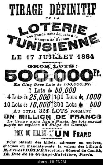 Advert for a French lottery. Dated 19th Century - Stock Image