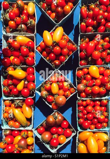 Homegrown tomatoes at farmers market - Stock Image