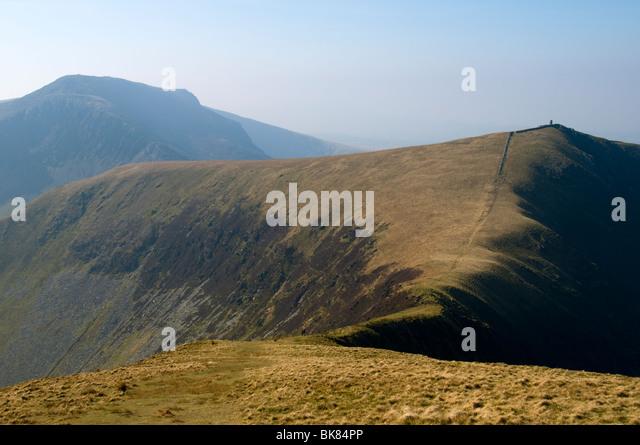 Craig Cwm Silyn and Mynydd Tal-y-mignedd from Trum y Ddysgl, Nantlle Ridge, Snowdonia, North Wales, UK - Stock Image
