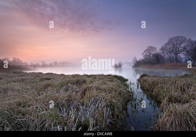 Sunrise at The Great Lake, Castle Howard, North Yorkshire, UK. - Stock Image