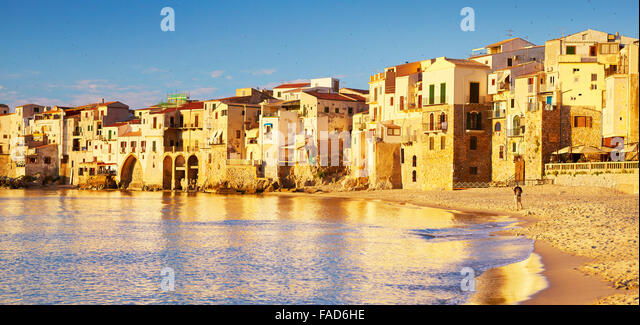Cefalu medieval houses on the seashore, Sicily Island, Italy - Stock-Bilder