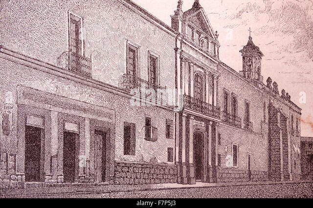 University of Mexico 19th century print - Stock Image