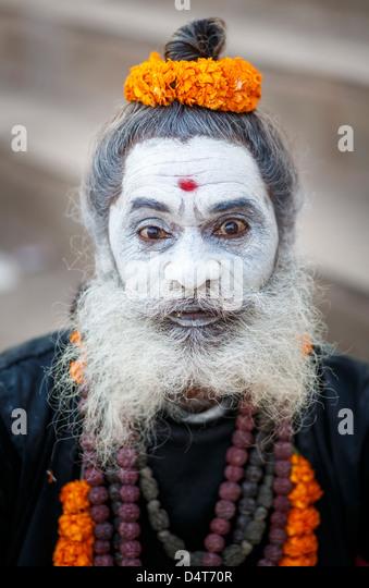 Bearded Sadhu with ash smeared face - Stock-Bilder