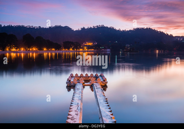 Kandy Lake at sunrise, Kandy, Central Province, Sri Lanka, Asia - Stock Image