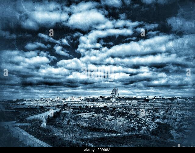 Winter clouds over Gozo - Stock Image