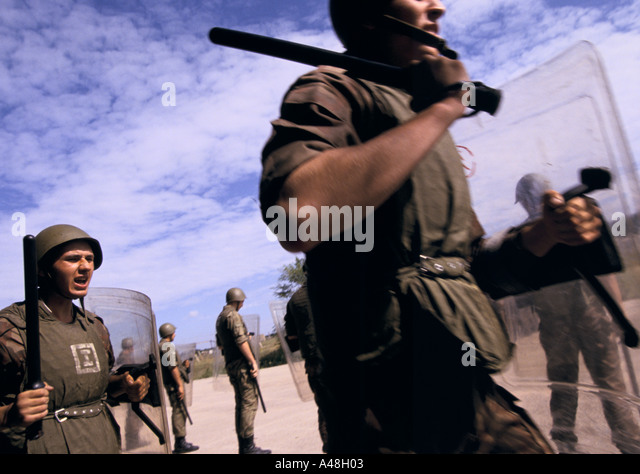 The Ukrainian national militia training in Simferipol Crimea in case of a russian nationalist uprising - Stock Image