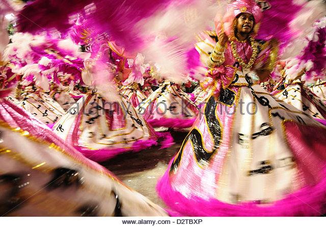 Dancers during the Rio Carnival, Rio de Janeiro, Brazil, South America - Stock Image