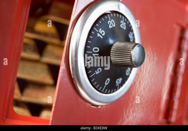 Safe Full Of Gold Bars - Stock Image