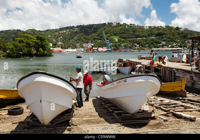 Fishing port with fishing boats and fishermen, Castries, the capital city, Saint Lucia, LCA, Windward Islands, Lesser - Stock Image