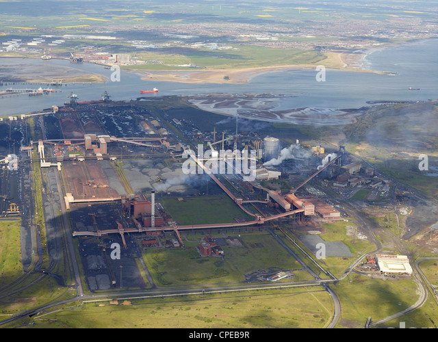SSI/ ex Corus SteelworksTeeside from the Air, North East England, May 2012 - Stock Image