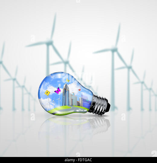 Green energy symbols, ecology concept, light bulb - Stock Image